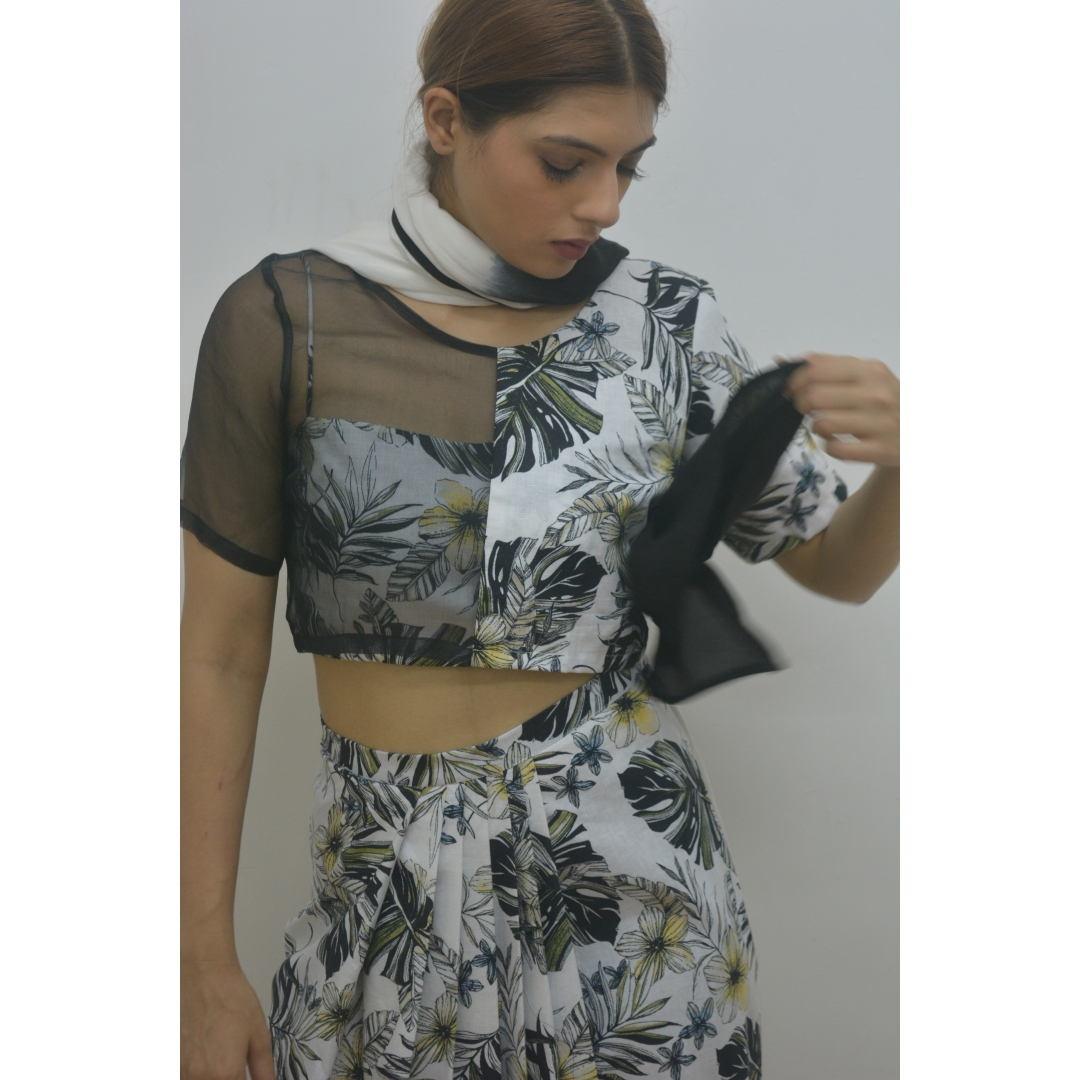 Black Organza And Print Half & Half Crop-Top With Printed Bustier Worn With Cotton Linen Printed Ski
