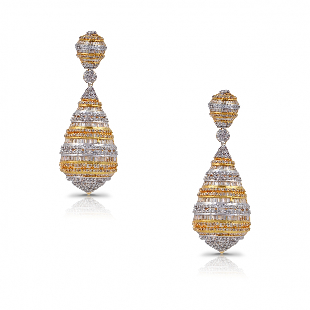 Dual finish Spherical yellow and white Sapphire Earrings