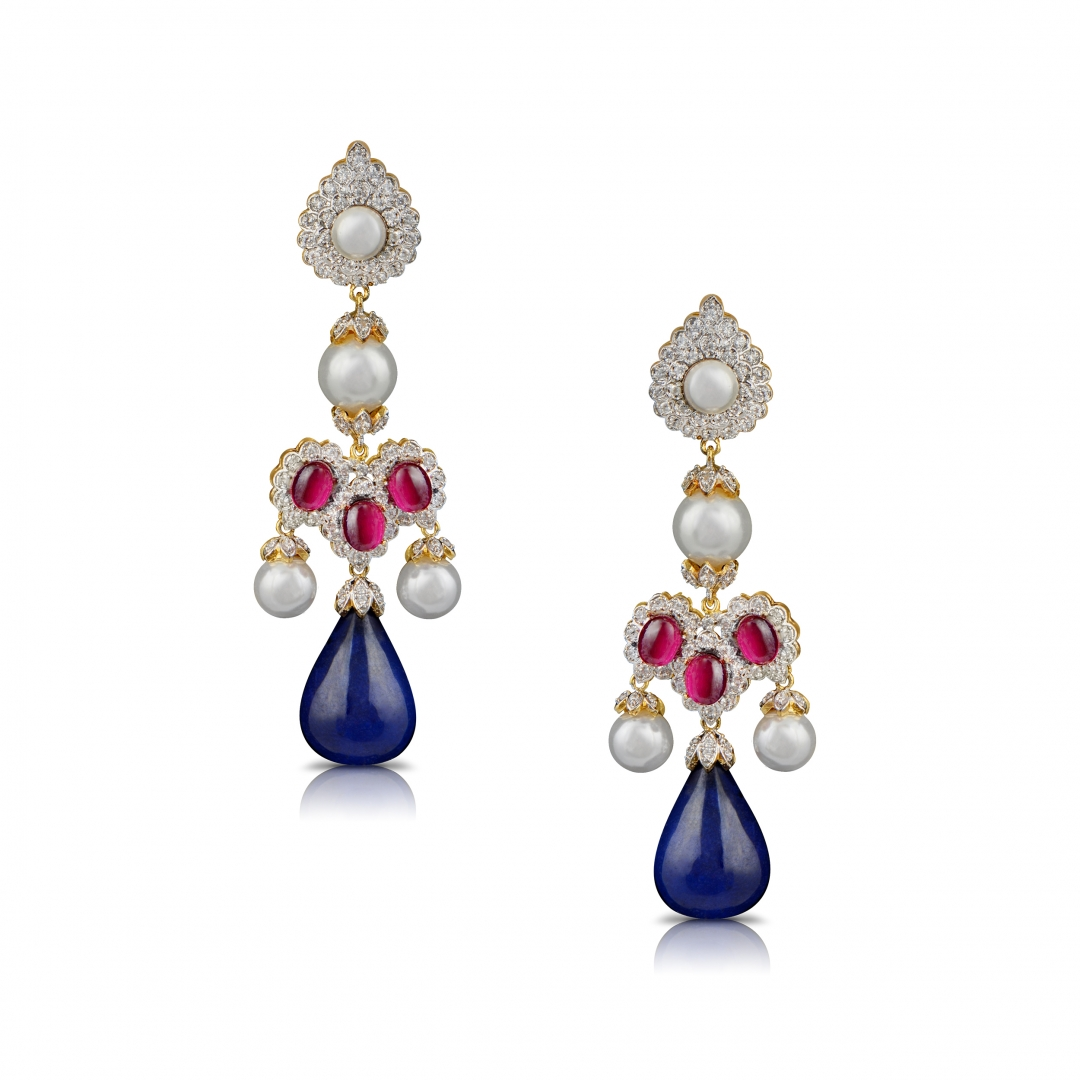 Dual Polish Pearls, Pink and Blue Stones Earrings