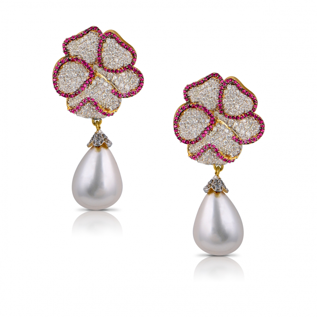 Pearl Floral Drop Earrings