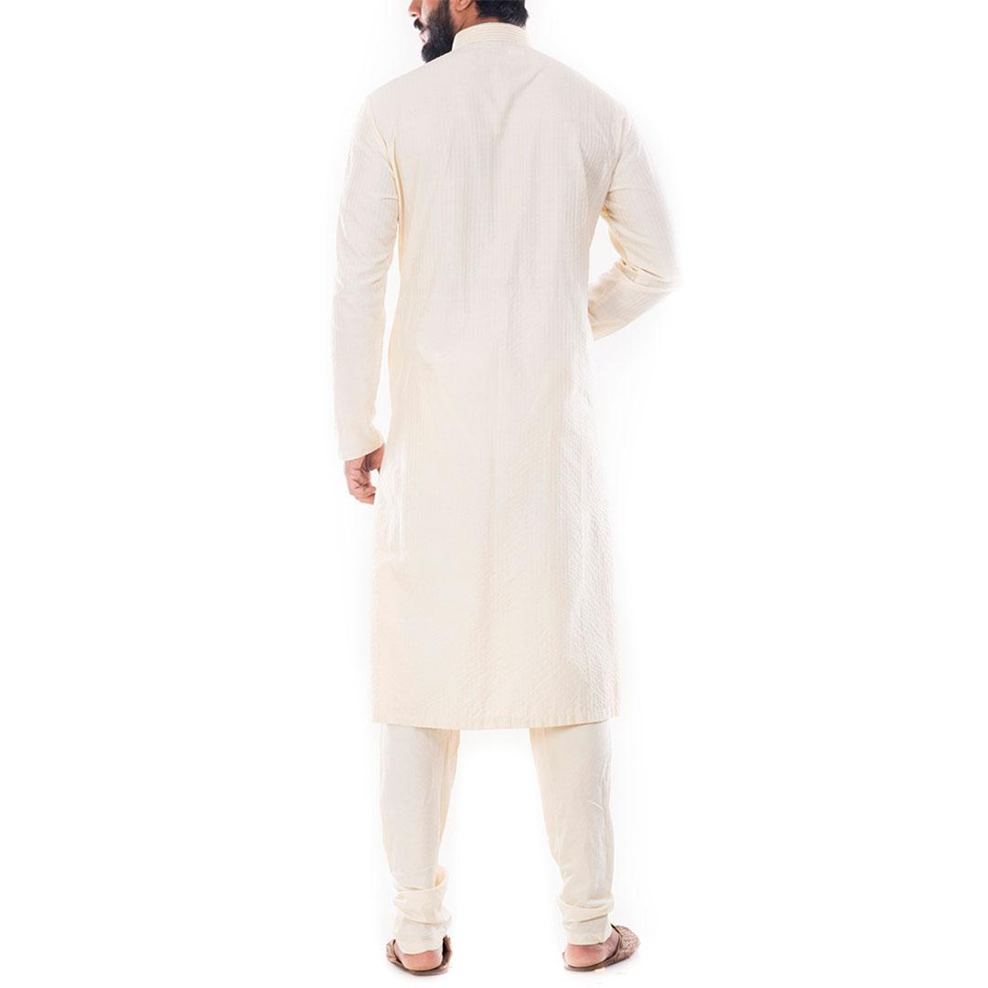 Light Beige Textured Kurta With Churidar Pants