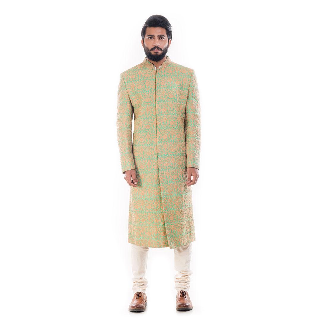 Beige & Fern Green Raw Silk Sherwani