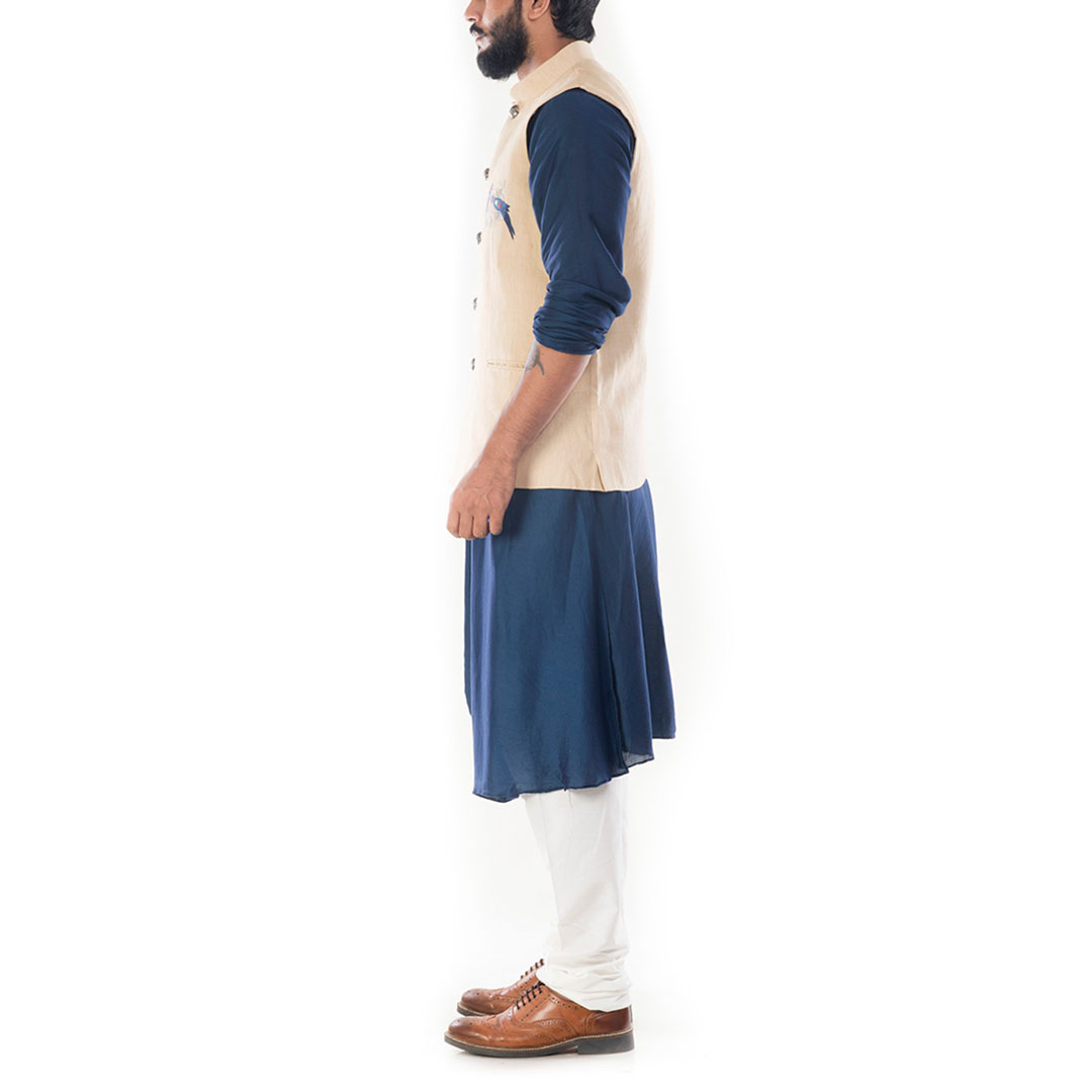 Royal Blue Cowl Drapped Kurta With Beige Motif Embroidery Jacket