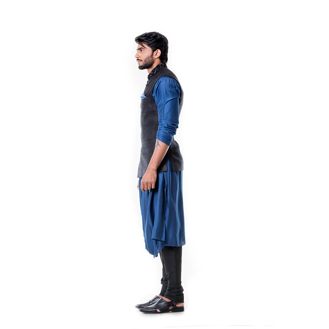 Blue Cowl Kurta Set with Embroidered BlacK Waist Coat Set.