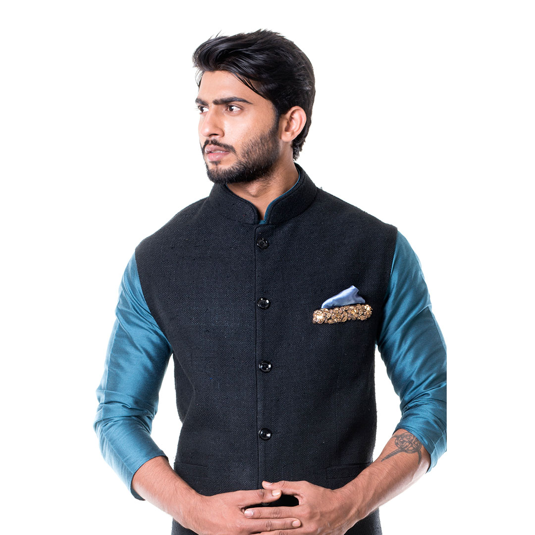 Blue kurta with Black Waist Coat Set.