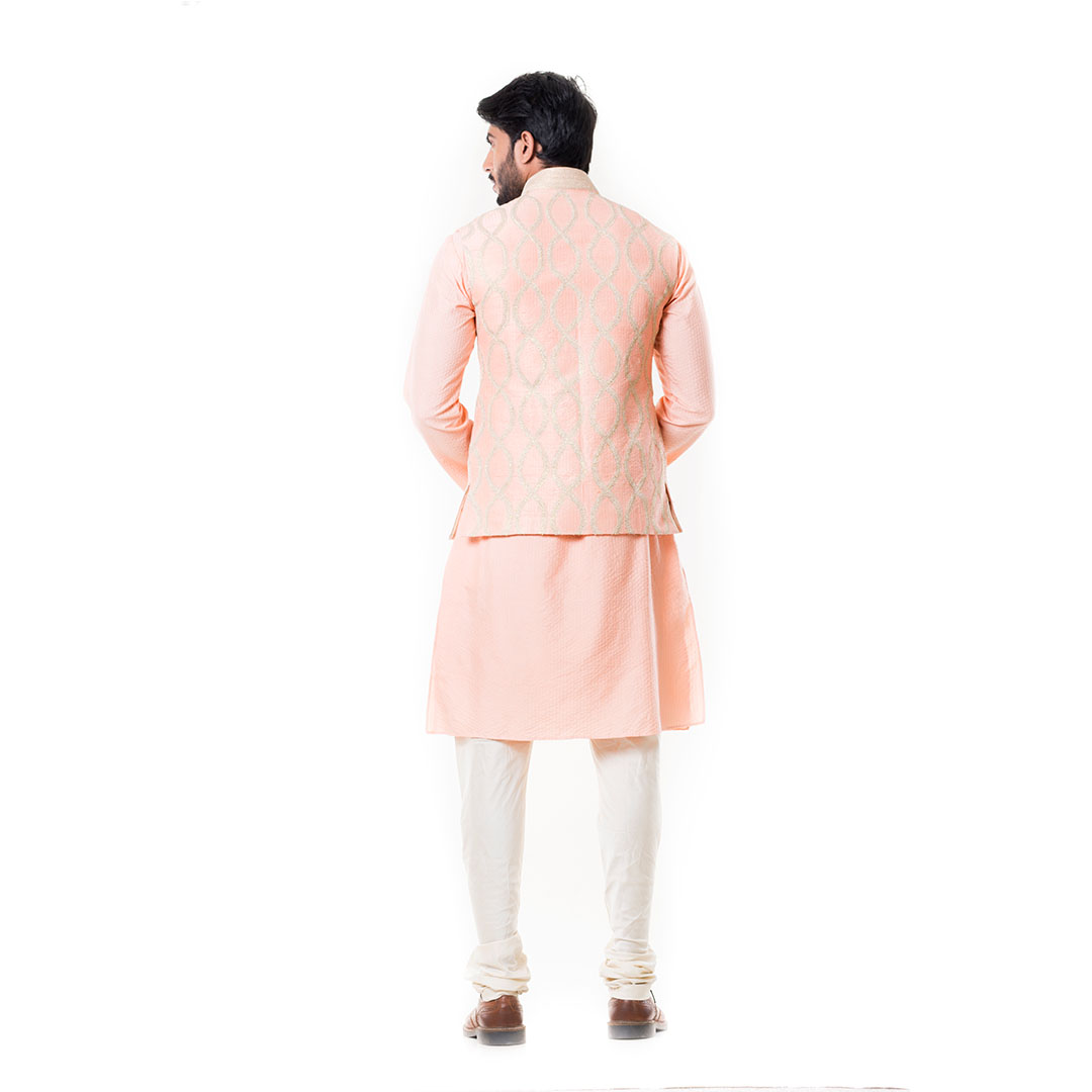 Peach Stitch Line Kurta with Peach Zadi Waist Coat.