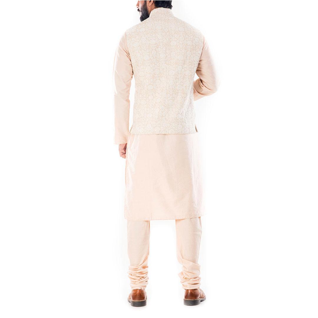 Light Beige Kurta With Cream Dori Embroidery Jacket