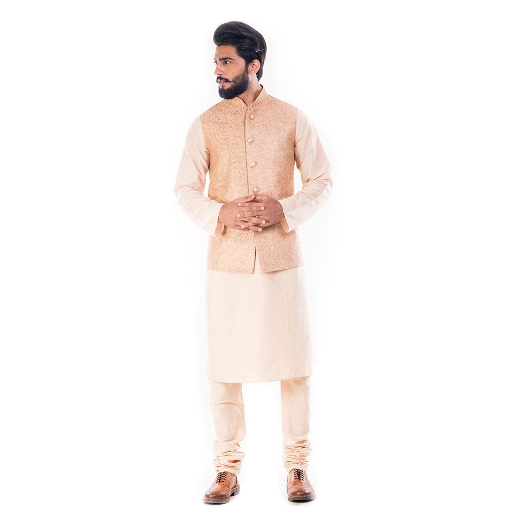 Light Beige Kurta With Golden Peach Rawsilk Nehru Jacket