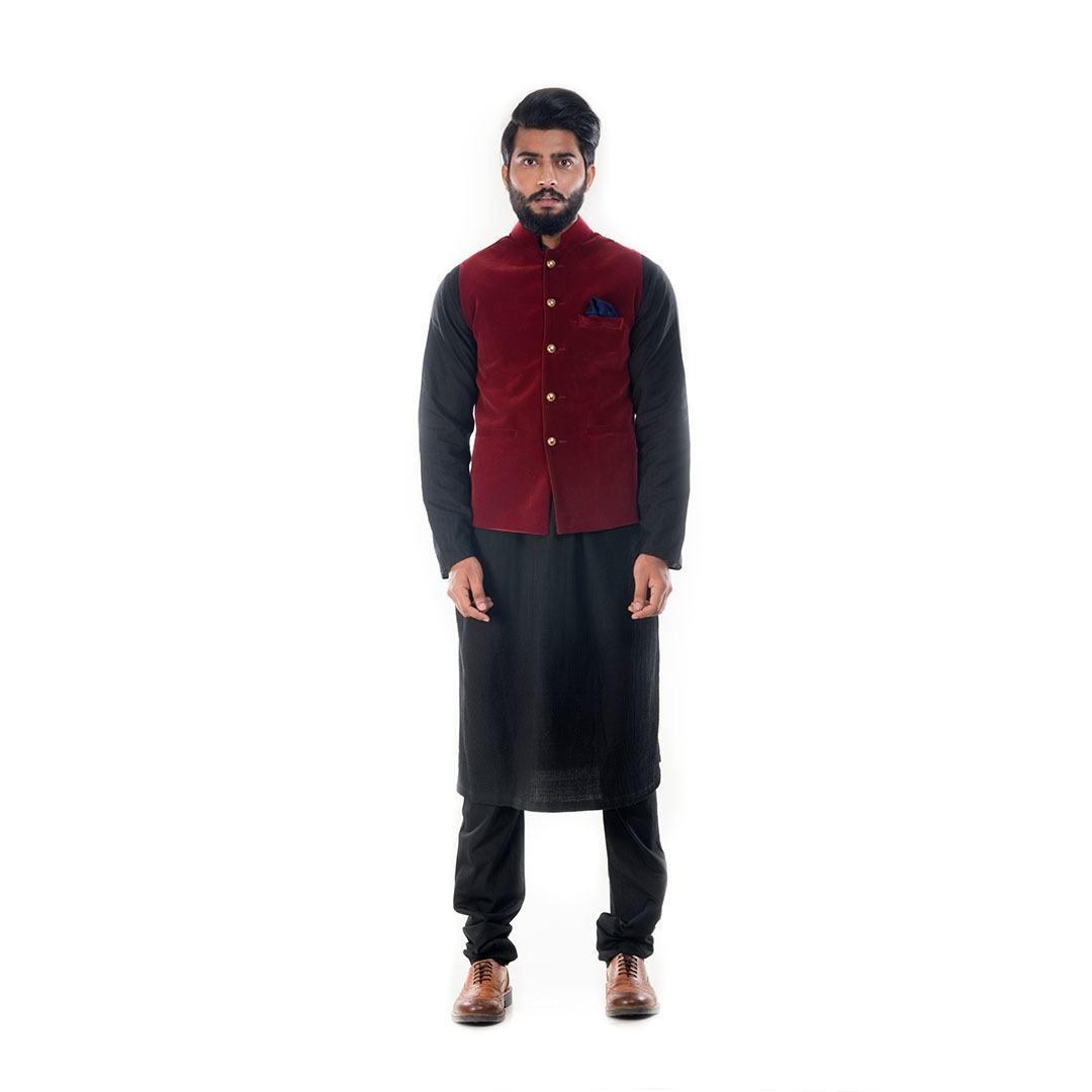 6ae5ac641d Buy Black Solid Kurta With Wine Red Velvet Jacket Online at Best ...