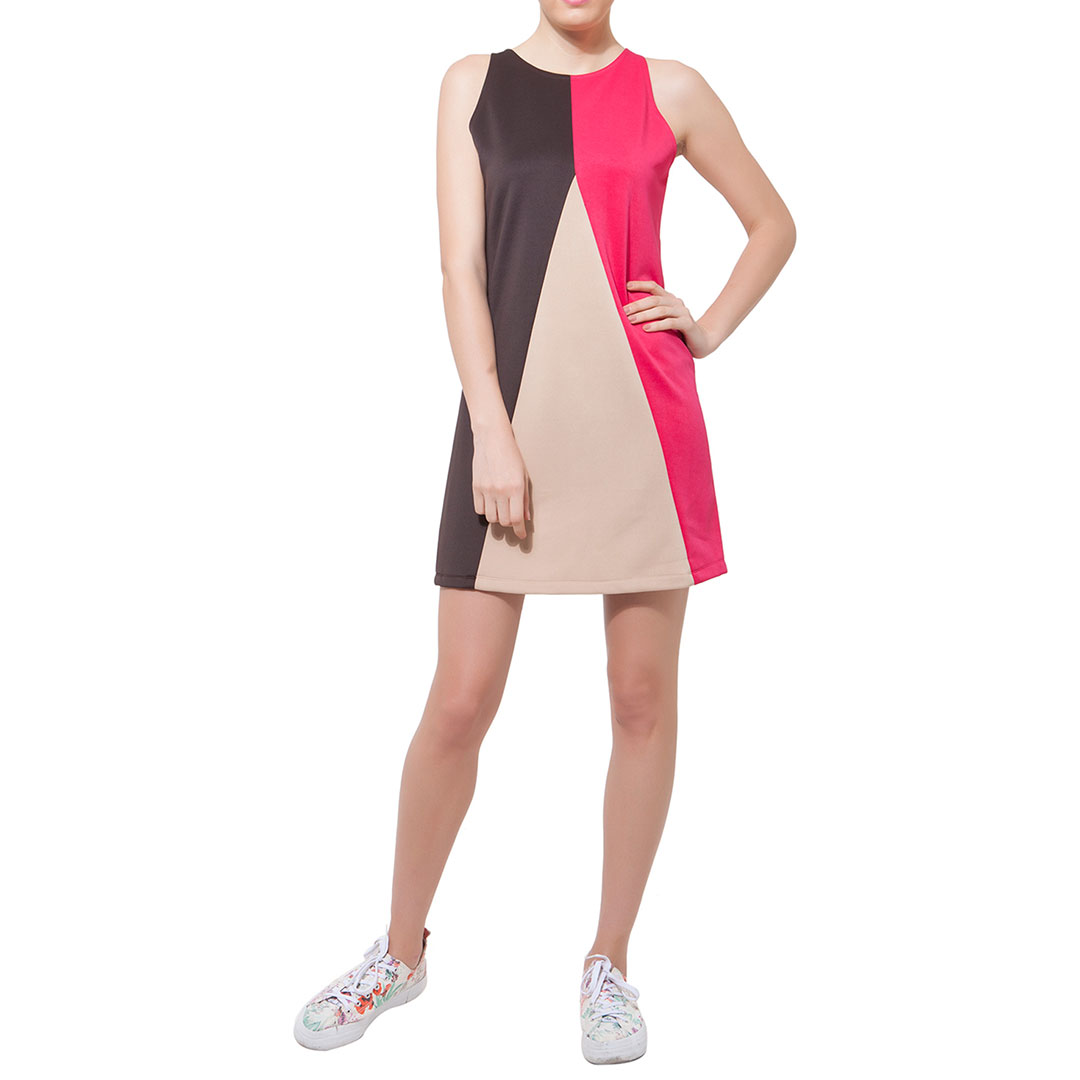 Straight-Cut Pink & Brown Color Block Dress