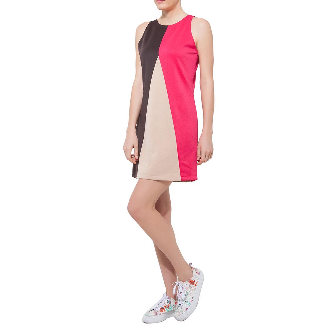 Straight-Cut Pink & Brown Color Block Dress