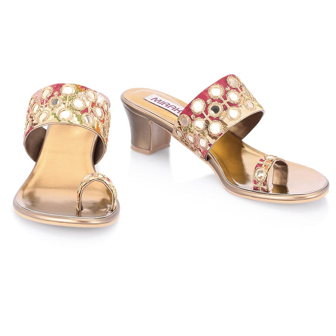Pink-Gold Mirror Work Sandals
