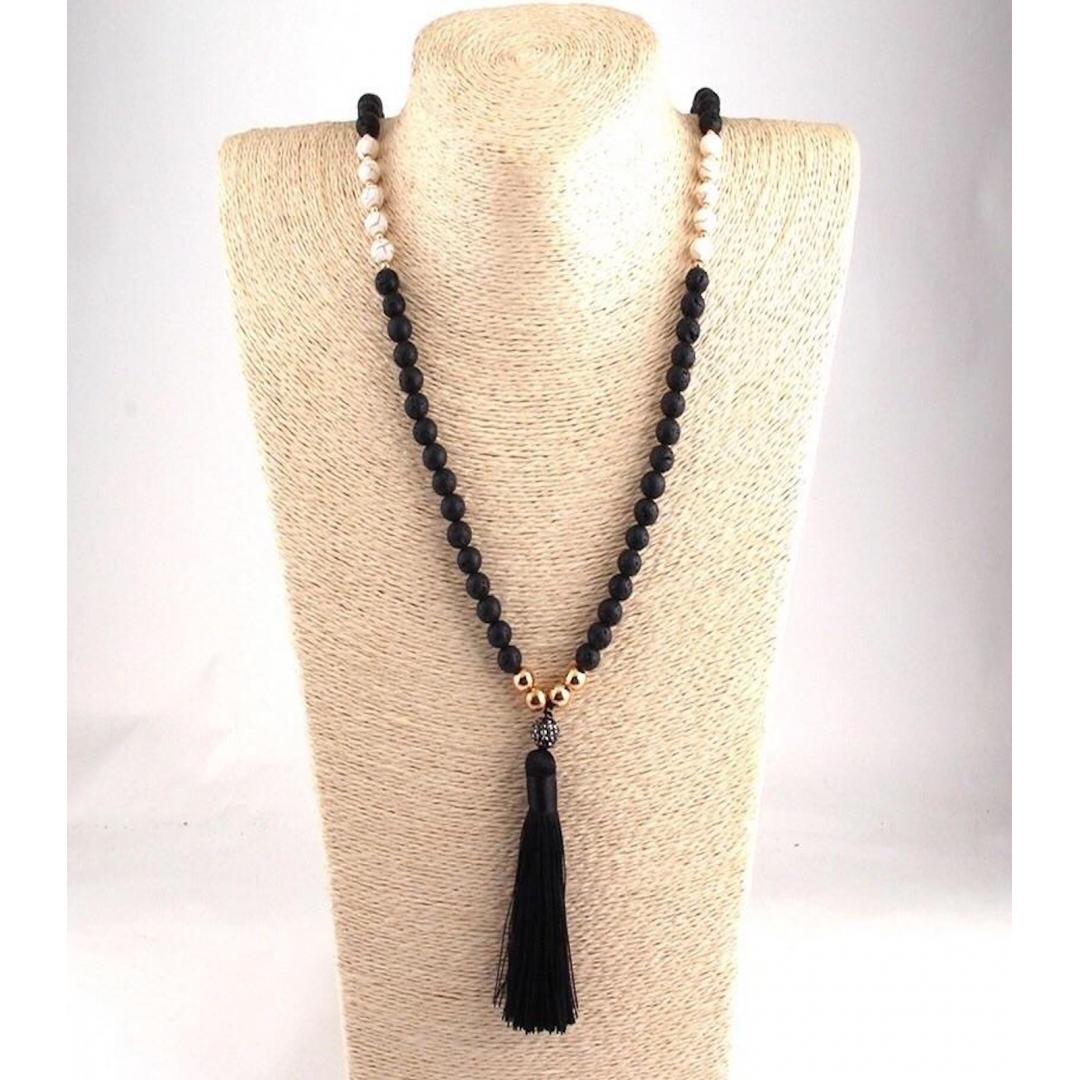 My Tribe Lava Stone Tassel Necklace