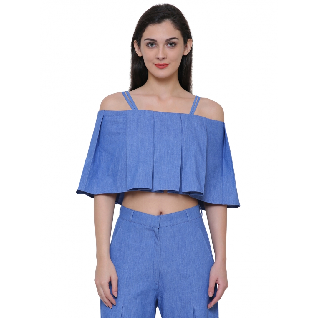 Denim box pleated top