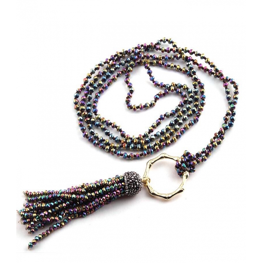 Bamboo Circle Crystal Tassel Necklace - Multi Coloured