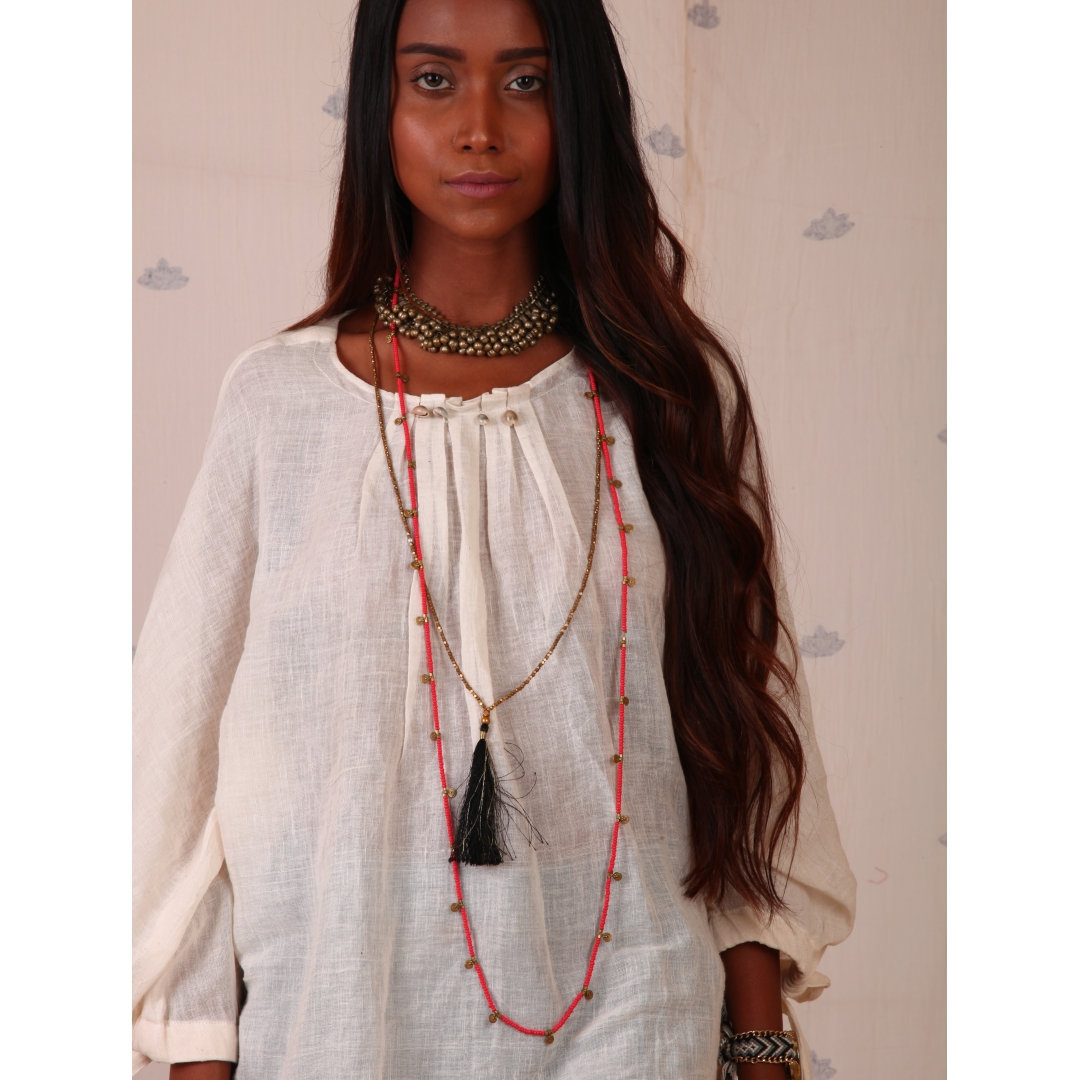 White Muslin Top with dolman sleeves