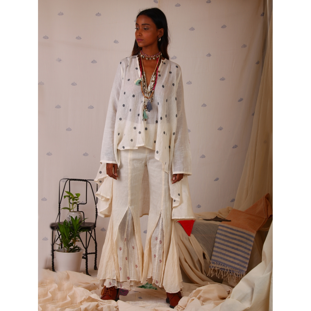 White muslin top with block print