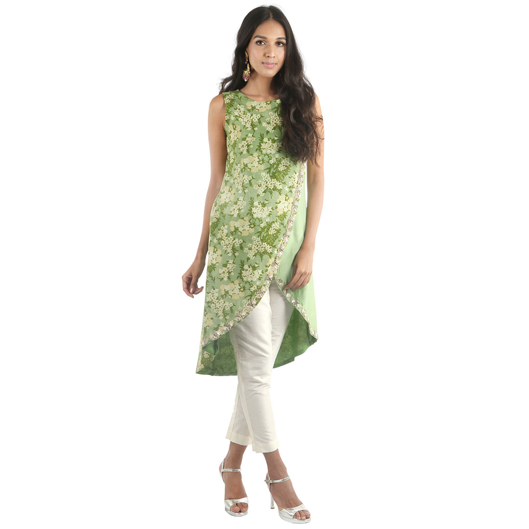 Buy Blooming Flower Scallop Half Print Sleeveless Kurta With Cream Cigarette Pant Online At Best Price In India Getnatty