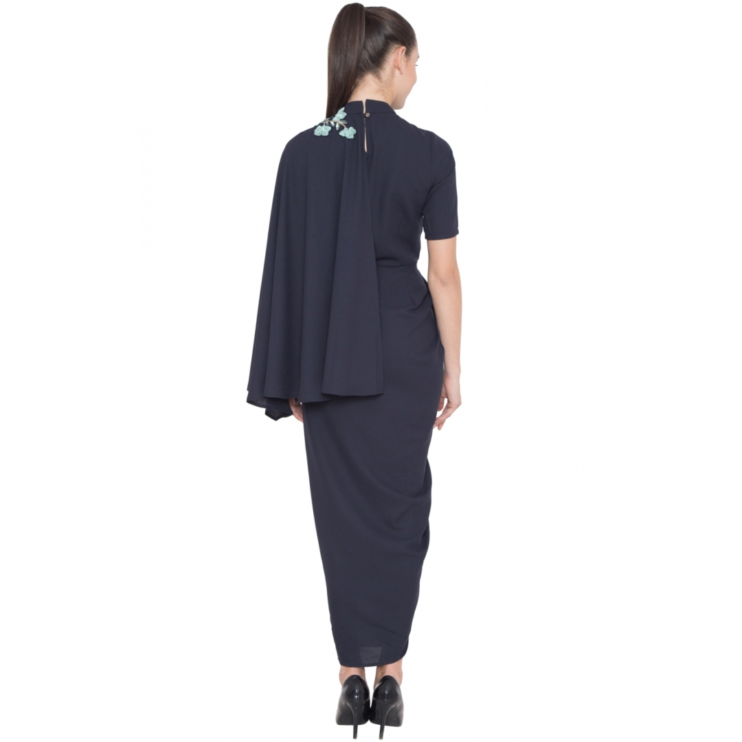 Navy Floral Embroidered Drape Dress