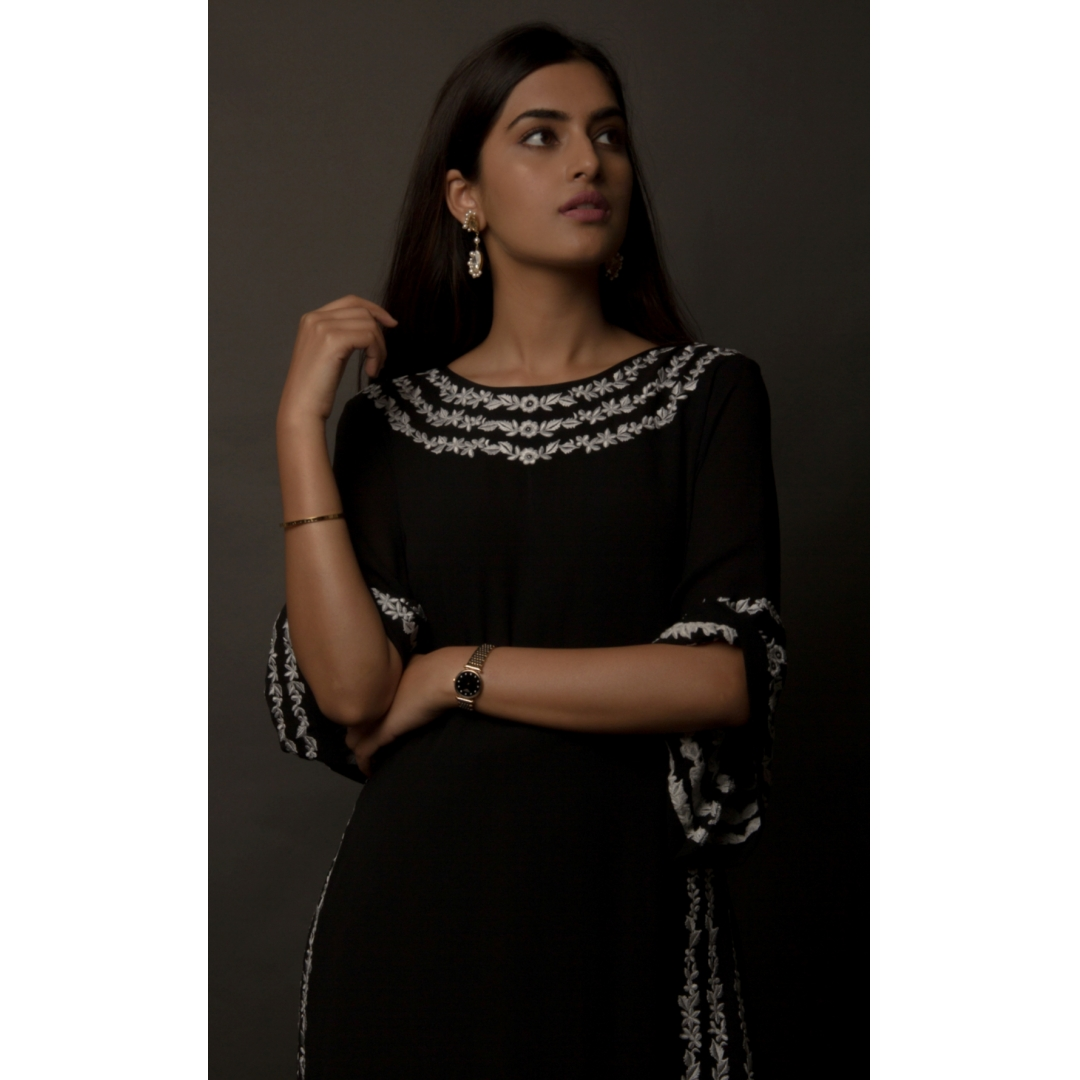 Black Embroidered Silk Georgette Kaftan