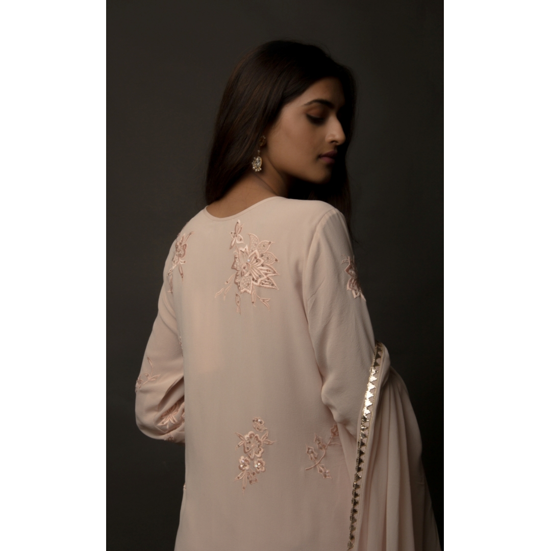 Dusty Rose Silk Georgette Side Slit Fully Embroidered Suit Set