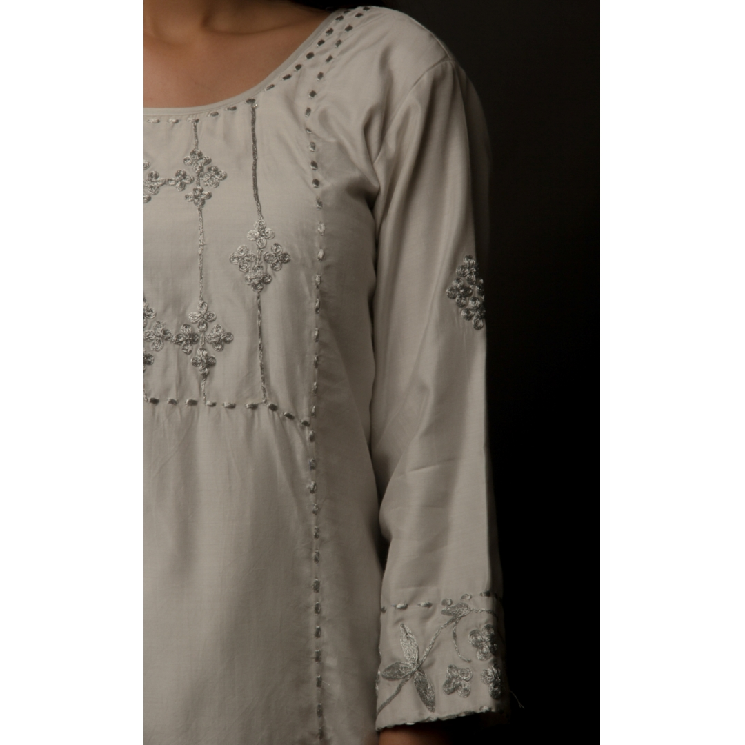 Sky Grey Classic Embroidered Cotton Silk Suit Set