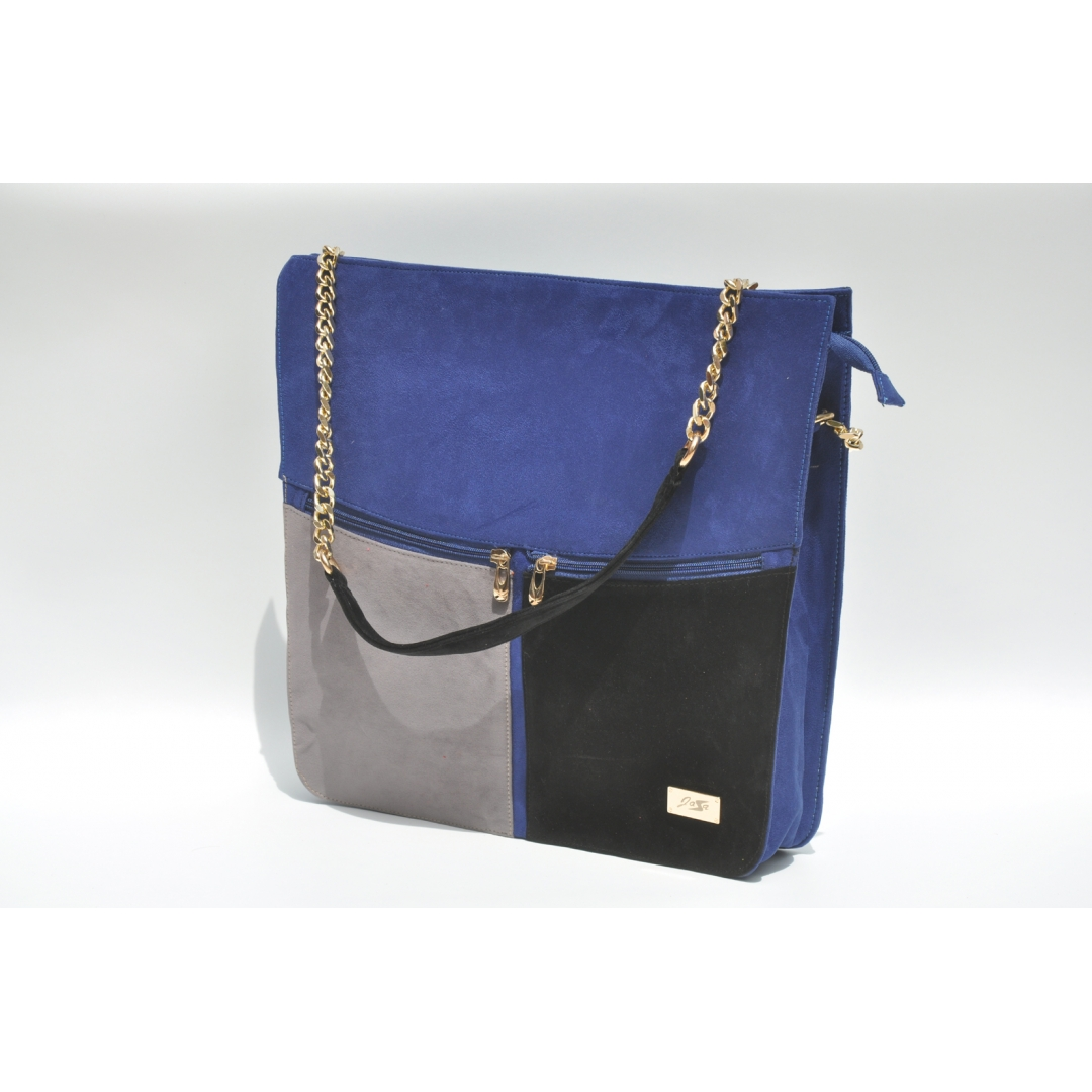 3 colored blue tote