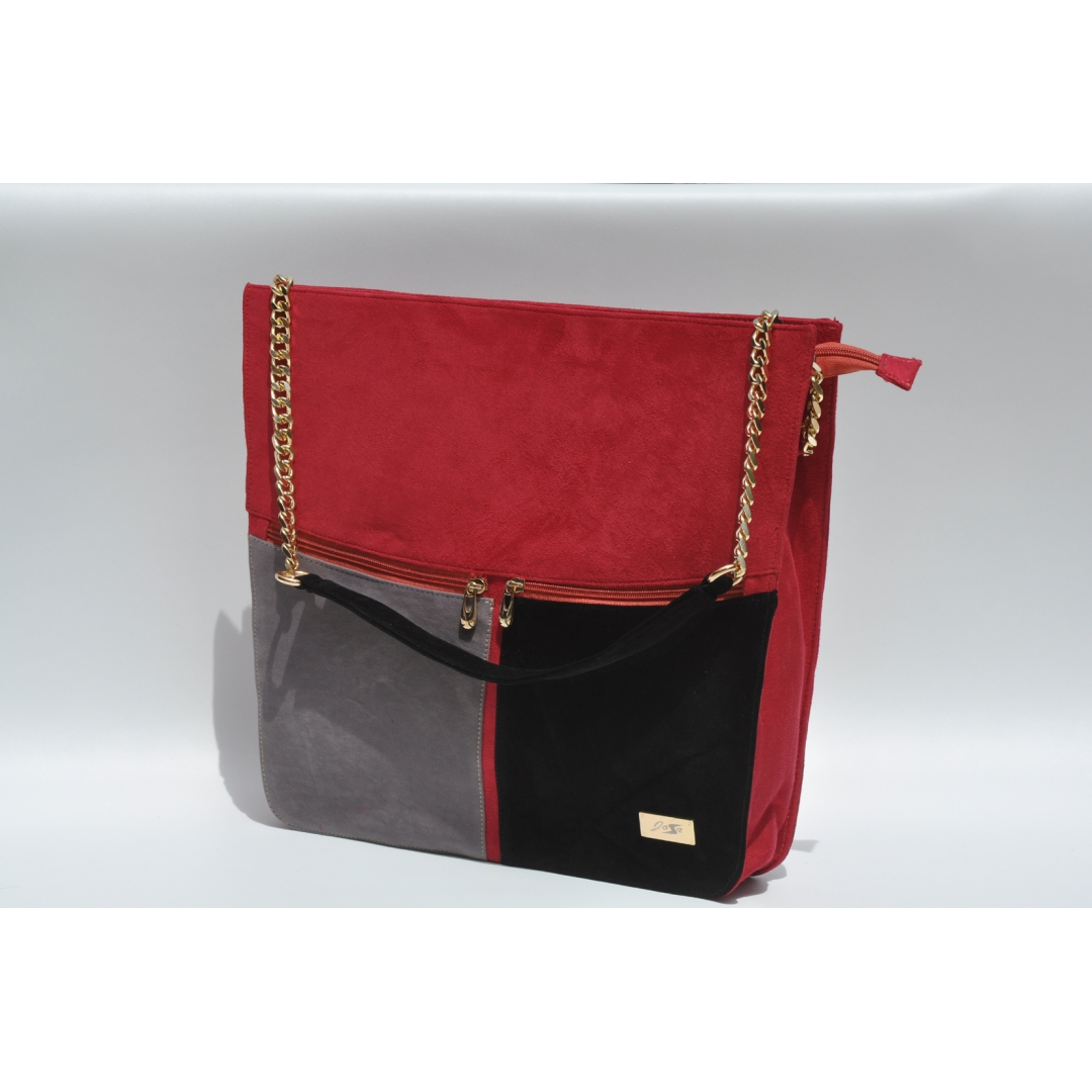 3 colored tote red