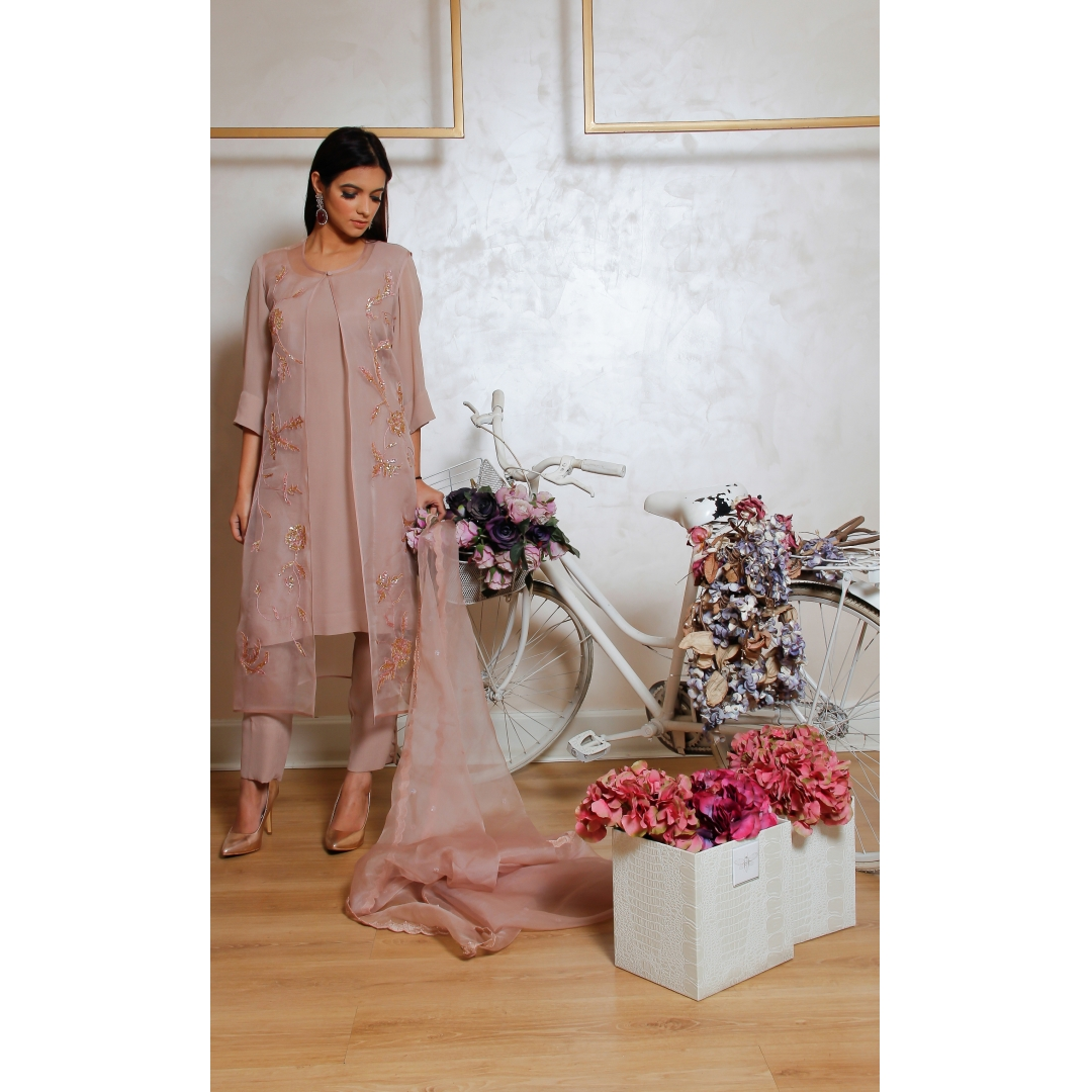 4050d220e79df Powder rose silk georgette top with buttoned pants and embellished gilet