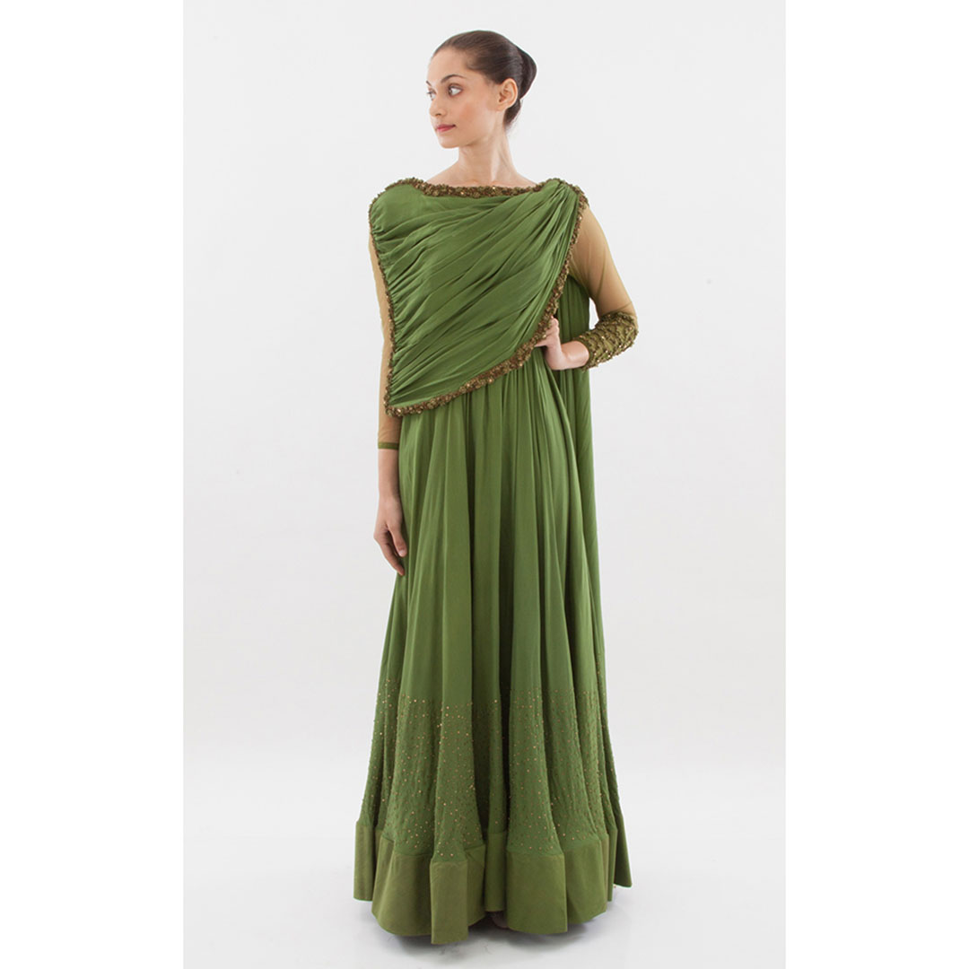Flared long gown with an attached saree drape