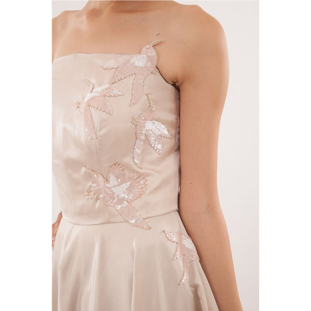 Strapless Embroidered Satin Gown