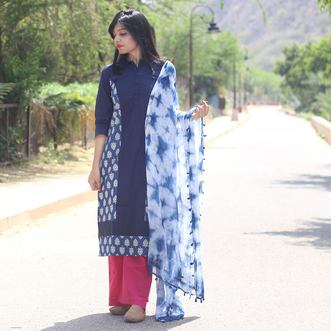 Set Of Indigo Princess Kurta With Palazzo