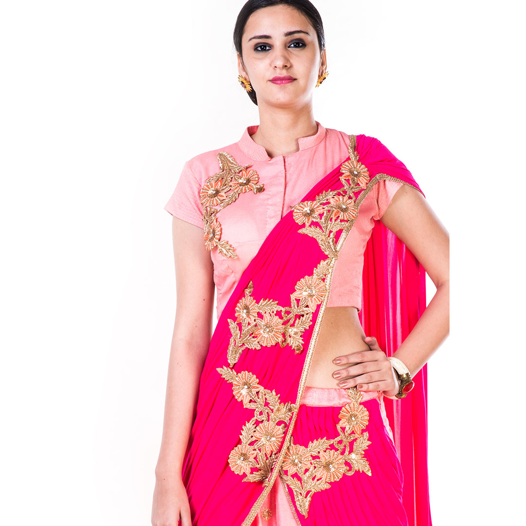 Hand Embroidered Peach & Rani Pink Lehenga with an Attached Dupatta
