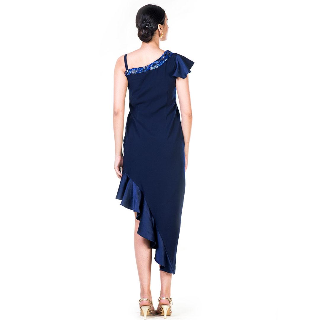 Embroidered Black One Side Shoulder Frill Hemline Dress
