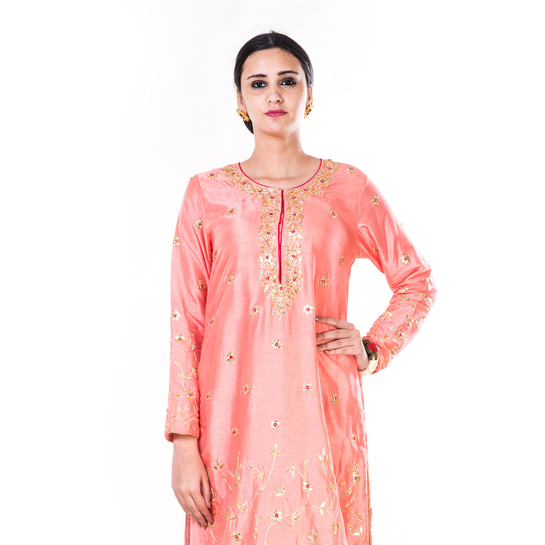 e905a64a9a Buy Hand Embroidered Peach Gota Work Palazzo Suit Set Online at Best Price  in India | GetNatty