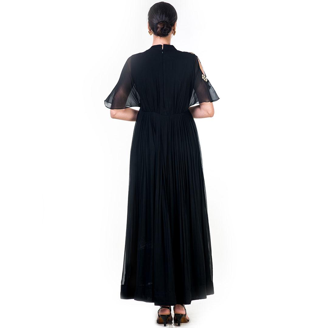 Hand Embroidered Black Overlapped Yoke Pleated Dress
