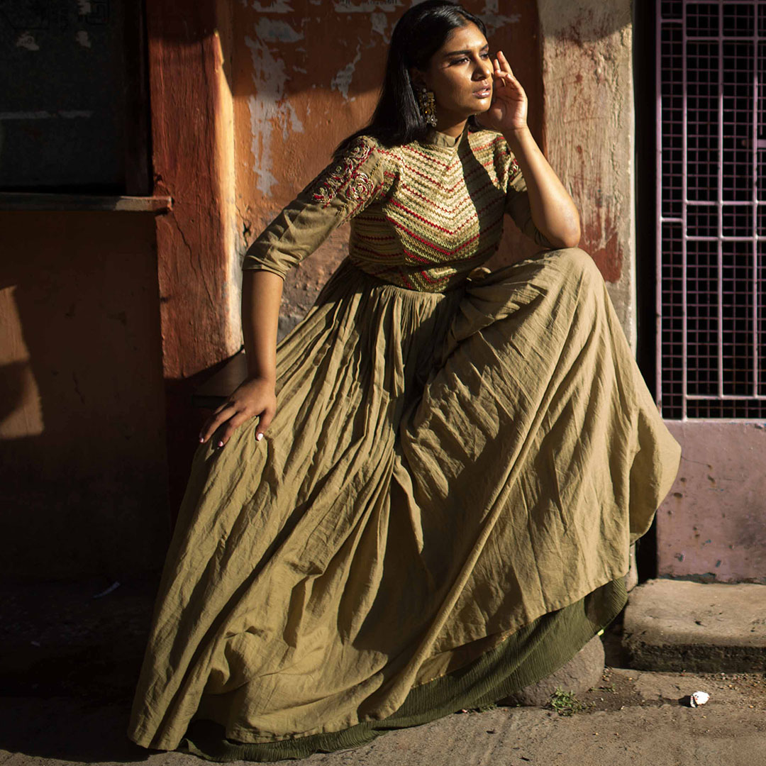 Mehendi green double layer Anarkali
