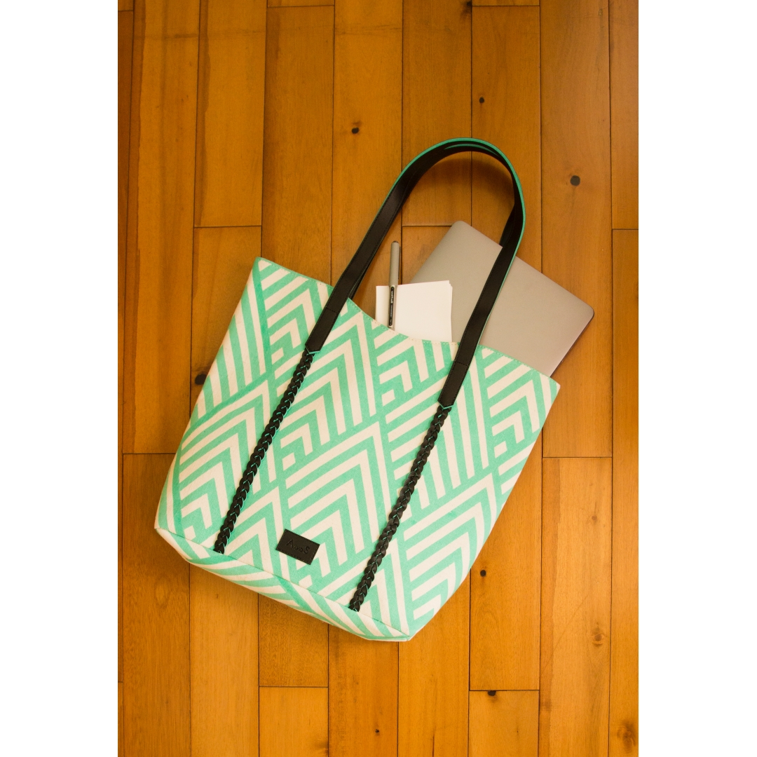 Mountains tote - mint