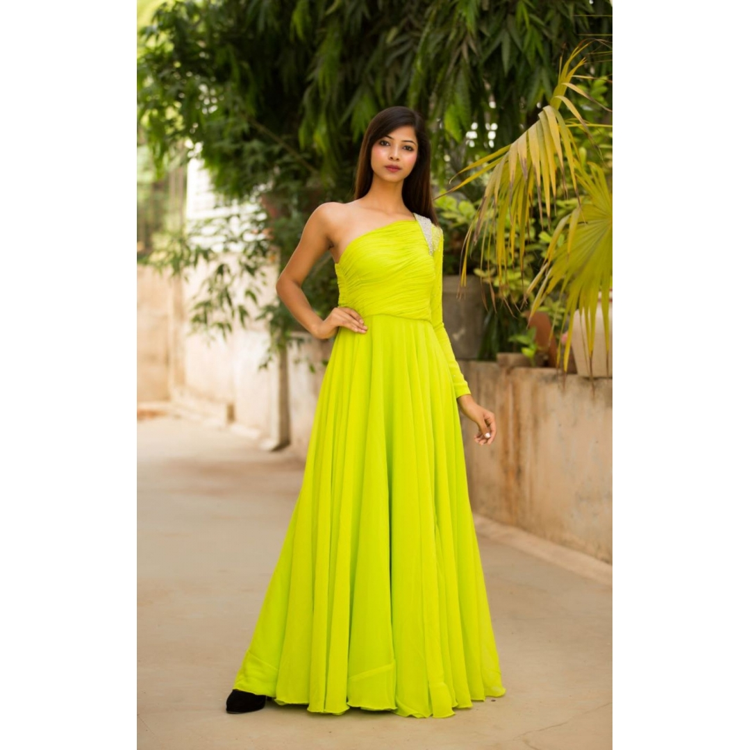 Product Description. Lime Green evening gown ...