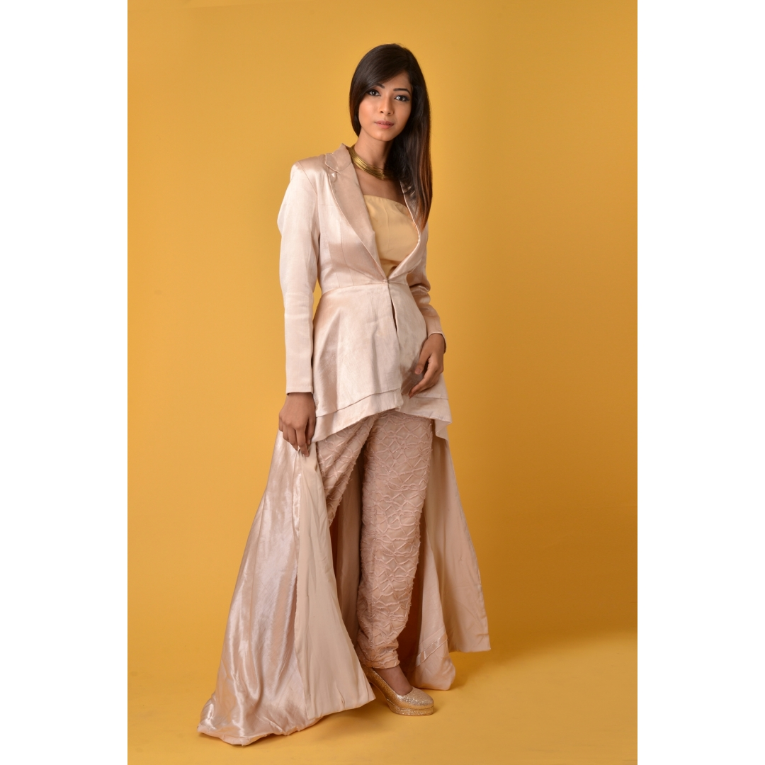 Gaji silk Beige blazer dress with pants