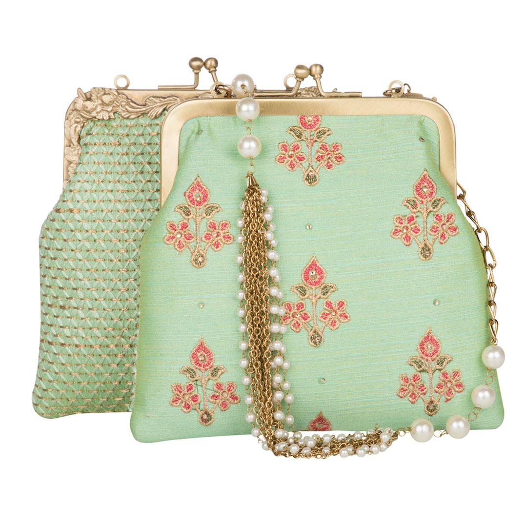 Pastel Mint Floral Kiss-Lock Potli Clutch