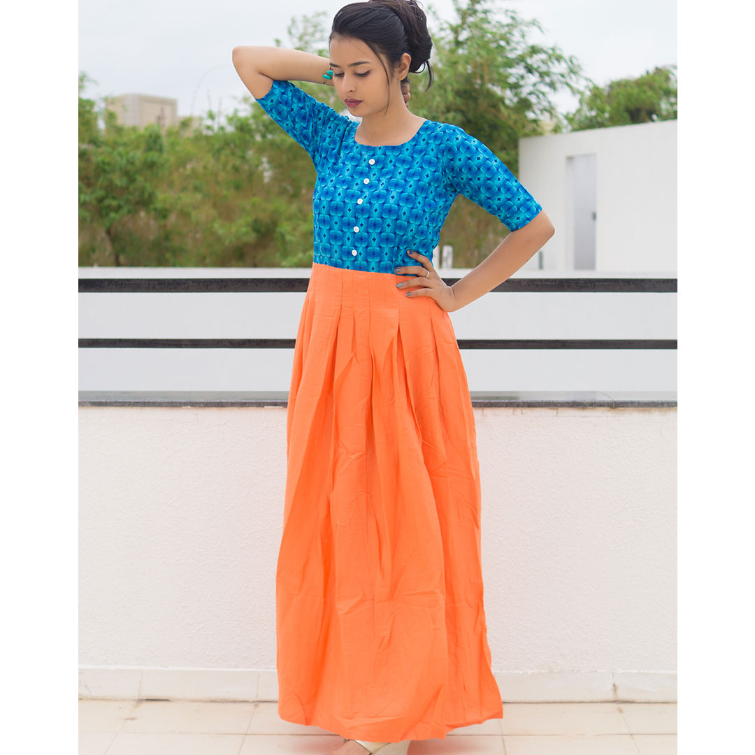 Skyblue And Orange Indo Western Gown