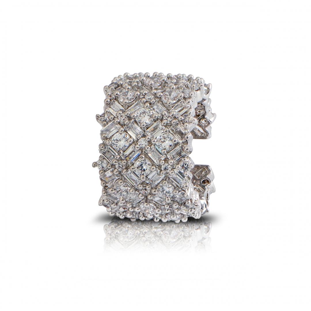 Rhodium finish White sapphire ring