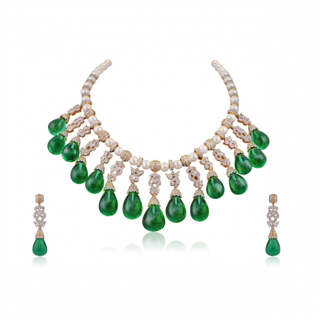 Small Emerald green drops statement necklace set
