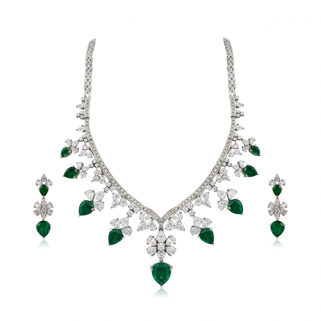 Emerald Swarovski Necklace Set