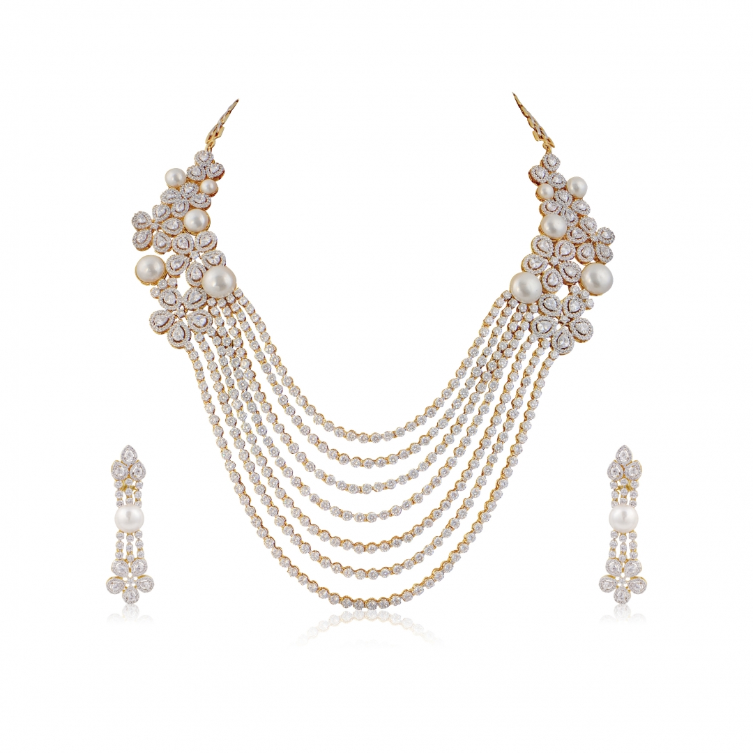 Rhodium and Gold Finish White Sapphire and Pearl String Necklace Set