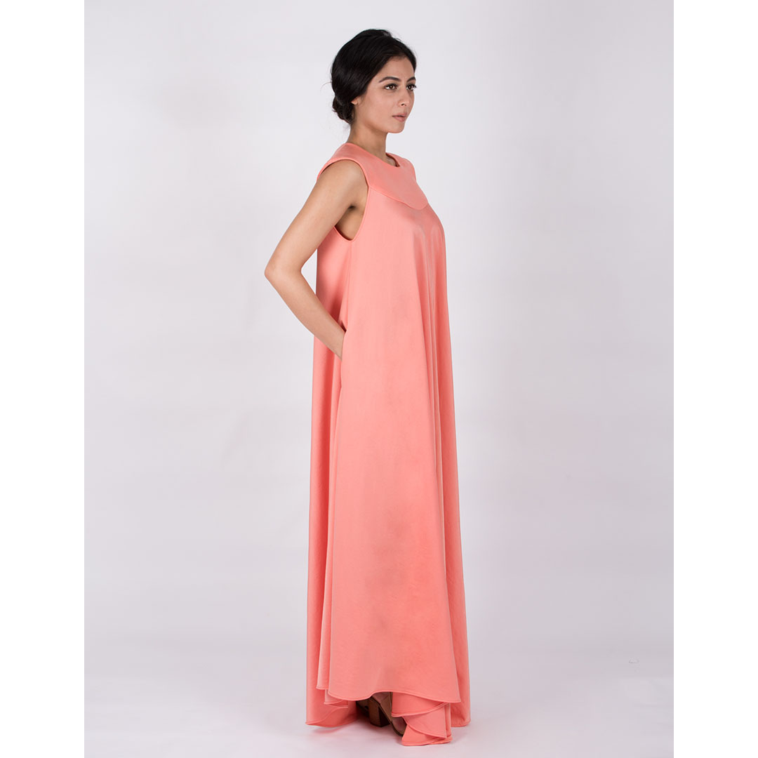 Round Flap Neck Flared Gown