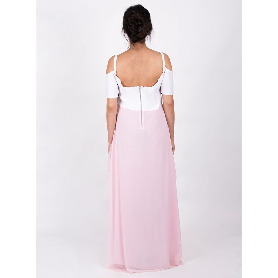 Cold Shoulder Sweetheart Neck Cowls Drape Gown