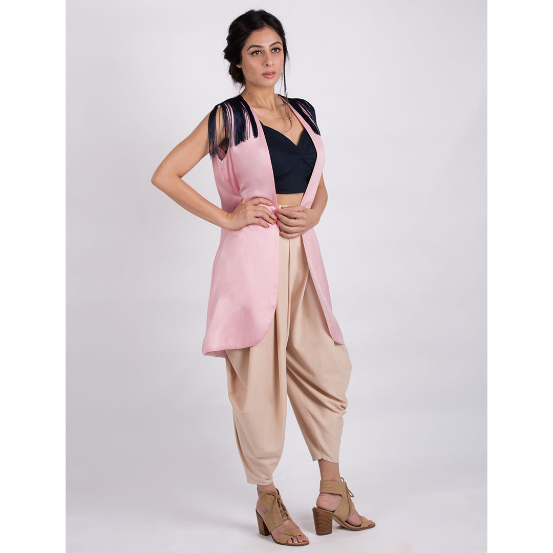 SWEETHEART NECK BUSTIER WITH A DHOTI AND FRONT OPEN JACKET