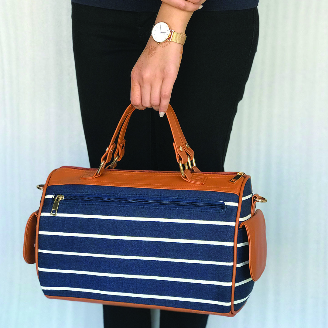 Single Striped Mini Duffle with Side Pockets